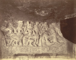 Close view of portion of sculpture frieze on lower storey of the Rani Gumpha, Udayagiri